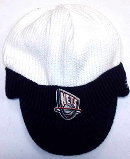 Image Unavailable. Image not available for. Color  New Jersey Nets Adidas  Visor Knit Hat ... 70ec9d47aa3
