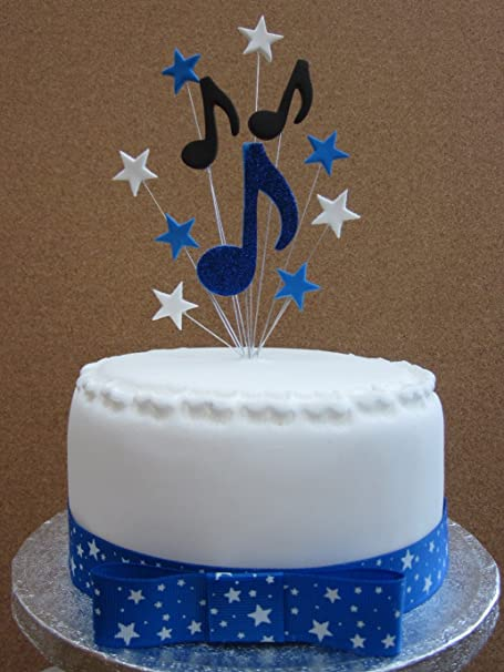 Excellent Musical Notes Cake Topper Royal Blue Black And White Suitable For Birthday Cards Printable Trancafe Filternl