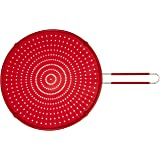 """ExcelSteel Silicone Splatter Screen with Non-Slip Grip, Red, 13"""""""
