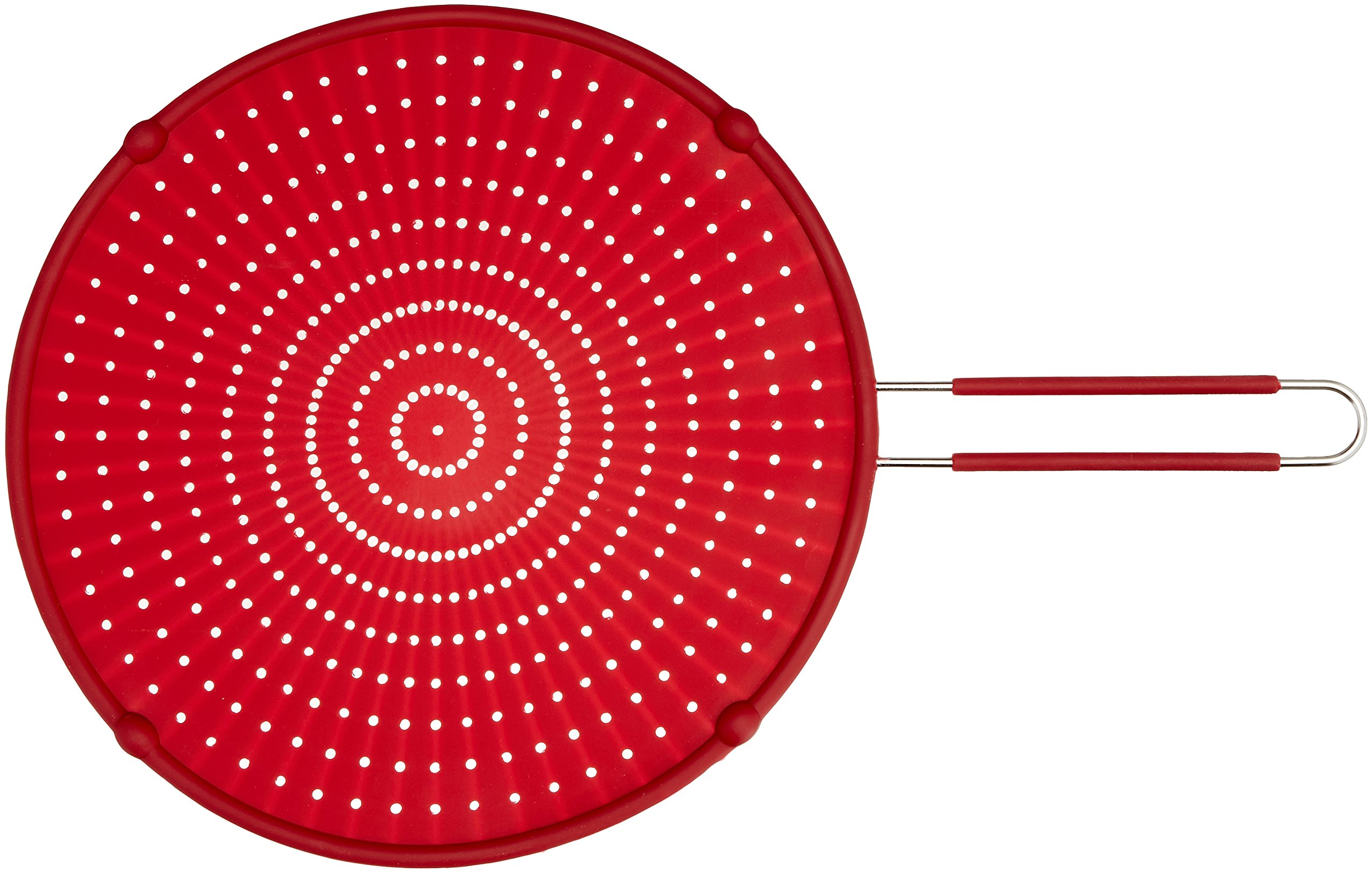 ExcelSteel Silicone Splatter Screen with Non-Slip Grip, Red, 13'' by ExcelSteel