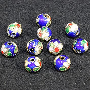 100 50 10pcs 8 10 12mm round filigree enamel cloisonne spacer loose beads