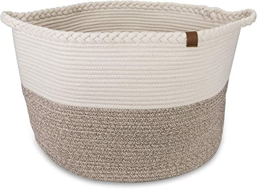 Kids Toys Extra Large Cotton Rope Basket 21.7x21.7x13.8 Soft and Safe for Kids Room Laundry Hamper Storage Organizing Bag for Baby Clothes and Blankets Grey Nursery Woven Bin Home Decor Baskets.