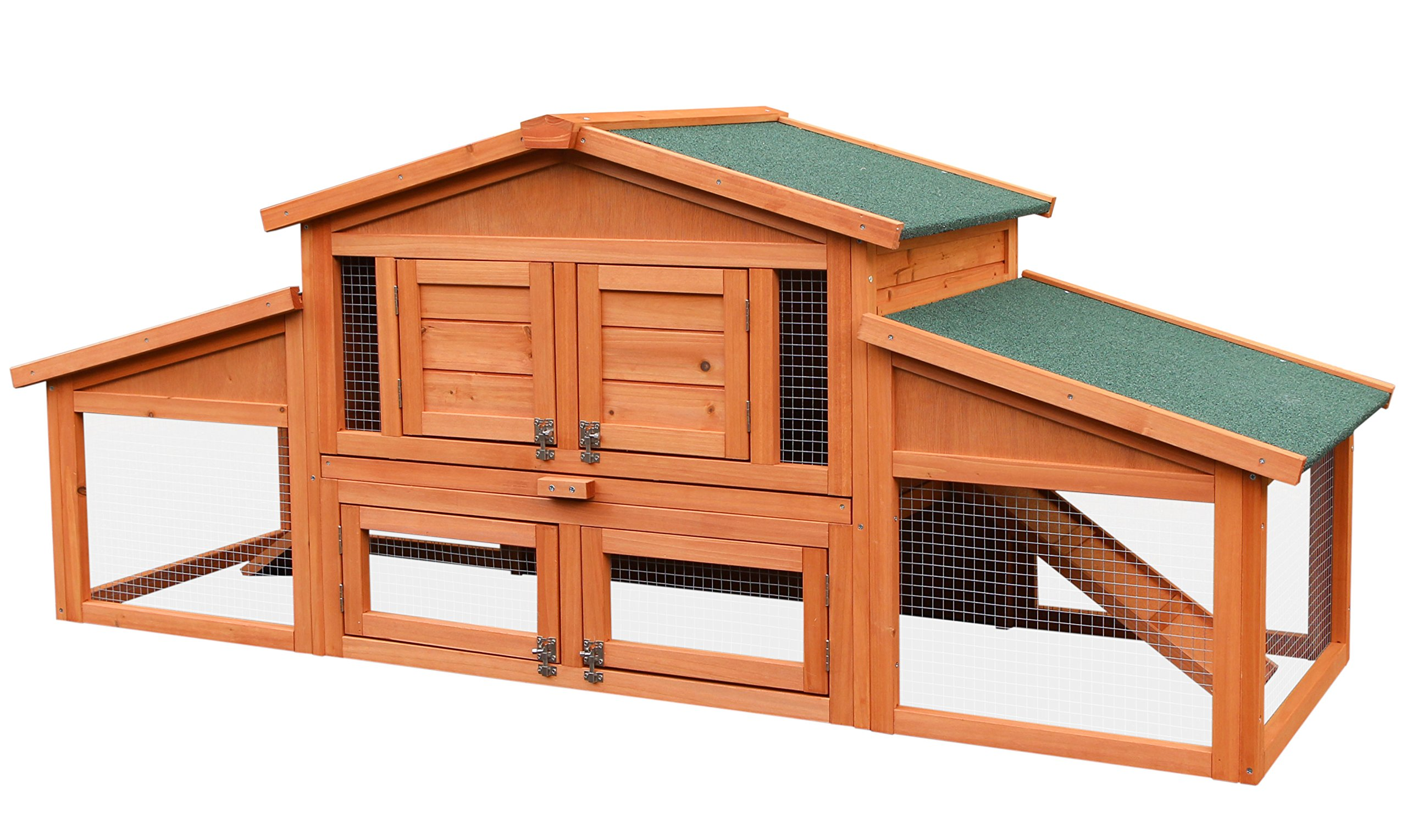 Merax 70-Inch Wooden Rabbit Hutch Outdoor Pet House Cage for Small Animals with 2 Run Play Area
