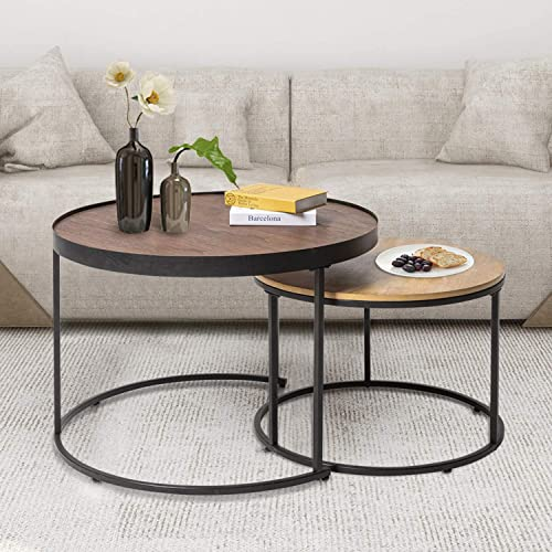 HAWOO Round Nesting Coffee Tables Set of 2