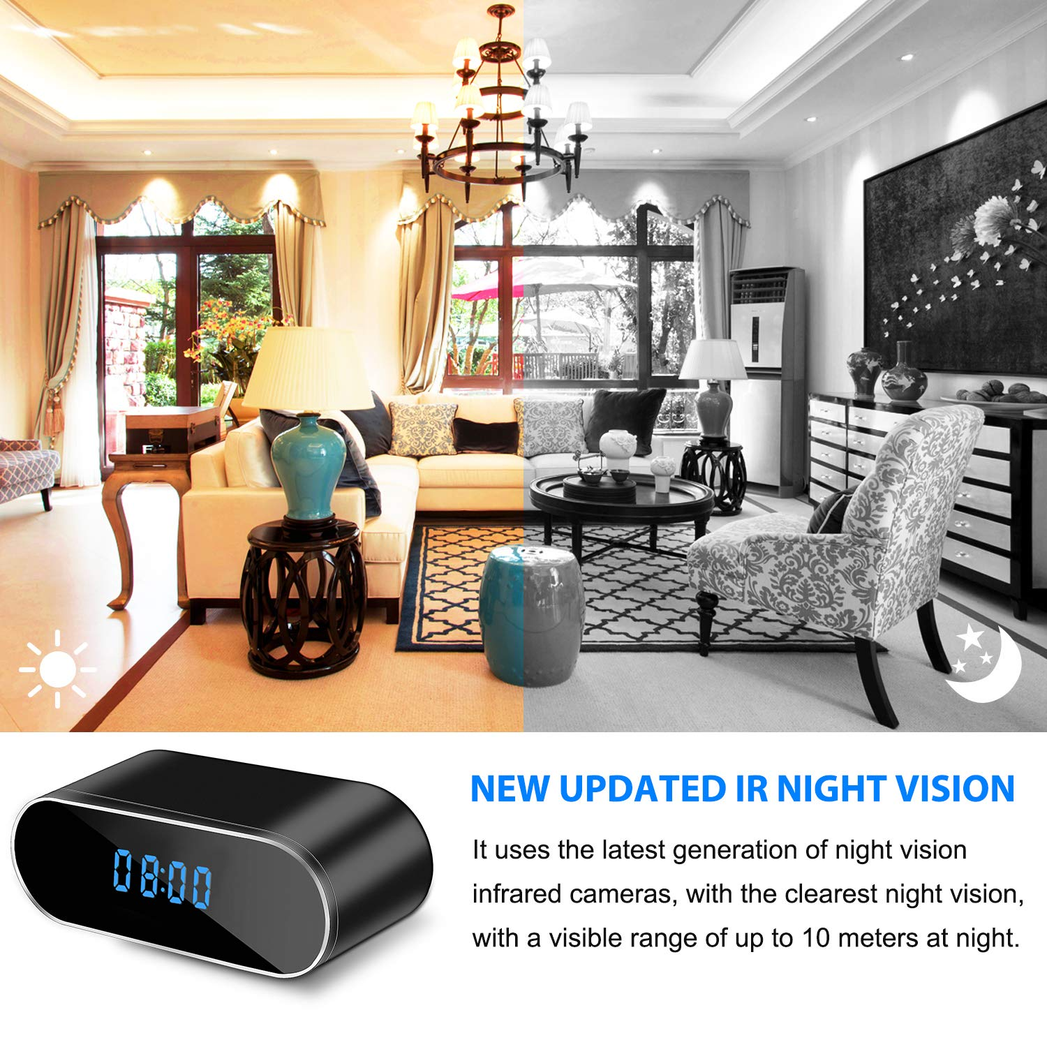 Hidden Camera Clock Perfect 150 Angle Camera Alarm Clock for Home Security WiFi Spy Camera Wireless Hidden 1080P Nanny Cameras and Hidden Cameras with Night Vision and Motion Detective