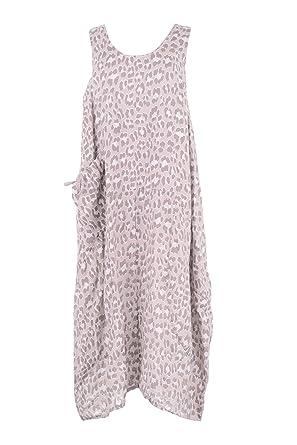 2152e80f28 TEXTURE Ladies Women Italian Lagenlook Leopard Print Sleeveless One Pocket  Linen Midi Dress One Size Plus (Light Pink