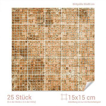 Graz Design 768067 15x15 80 Fliesenaufkleber Mosaik Muster Braun