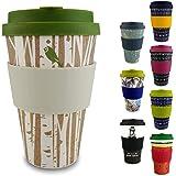 Morgenheld ☀ Ton gobelet tendance en bambou | tasse de café à emporter | gobelet de café durable en silicone et banderole au design tendance, 400 mL (Forest)