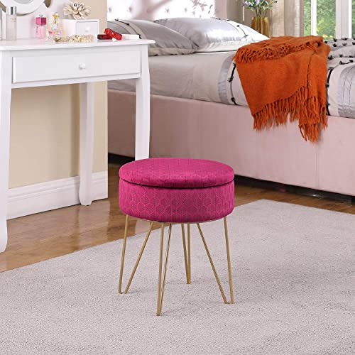 TMEE Modern Velvet Round Storage Footrest Stool/Seat Ottoman