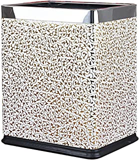 Wddwarmhome White Gold Carved Stainless Steel Trash Can Living Room Hotel Room Metal Rectangle No Cover Trash Can Double Bin Trash Can (23 * 16.5 * 27.5 Cm) 10L Waste Bins