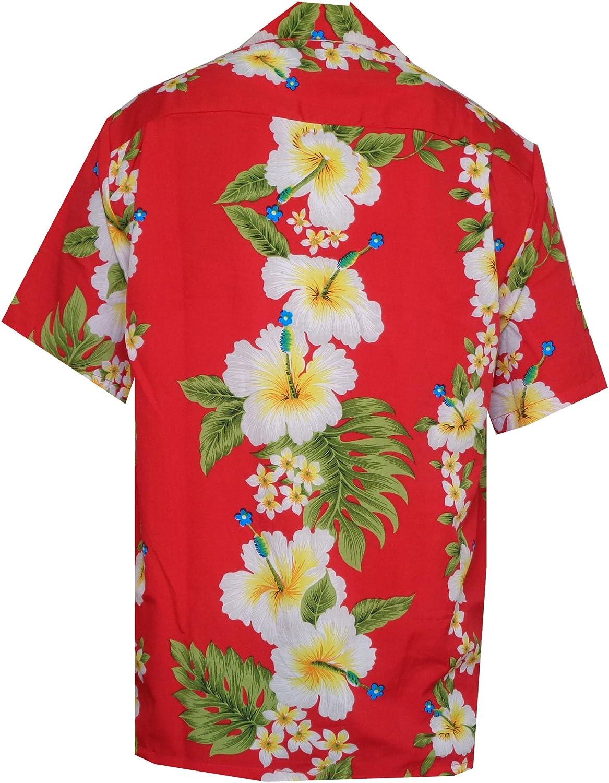 Camisa hawaiana para hombre con estampado de flores de hibisco para playa, fiesta, aloha campamento hawaiano para hombre - Rojo - 3X-Large