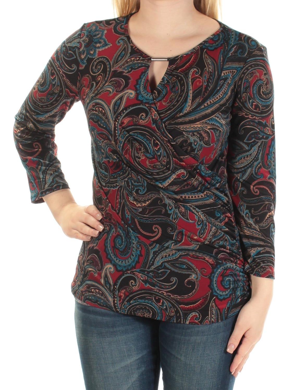 INC $59 Womens New 1583 Black Paisley Keyhole Long Sleeve Faux Wrap Top M B+B 7X307M899