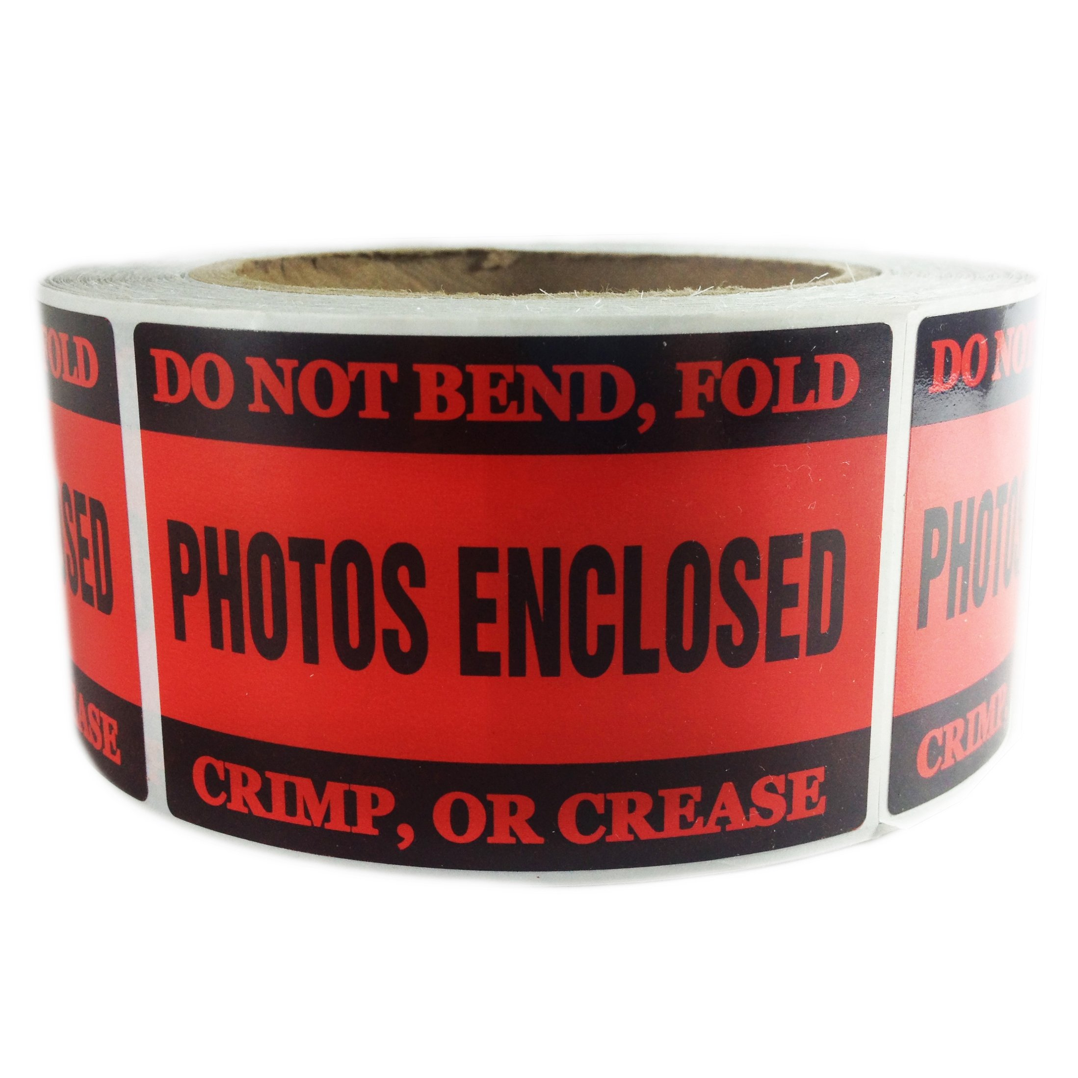 Red ''Photos Enclosed'' Label - 2'' by 3'' - 500 ct