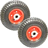 """Pair 10"""" Sack Truck Pneumatic Spare Wheel Tyre Red Trolley Cart"""