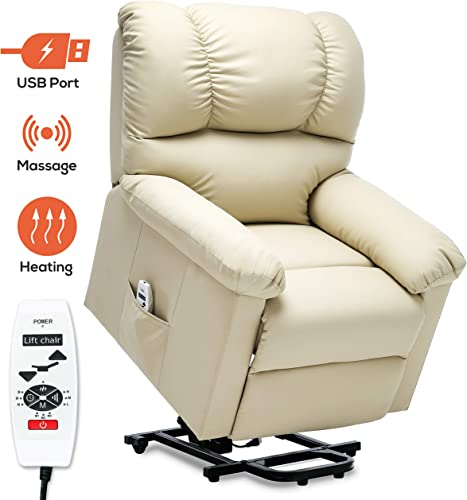 ERGOREAL Power Lift Chair for Elderly Electric Lift Recliner with Heat and Massage PU Leather Lift Recliner with USB Port and Side Pocket Beige