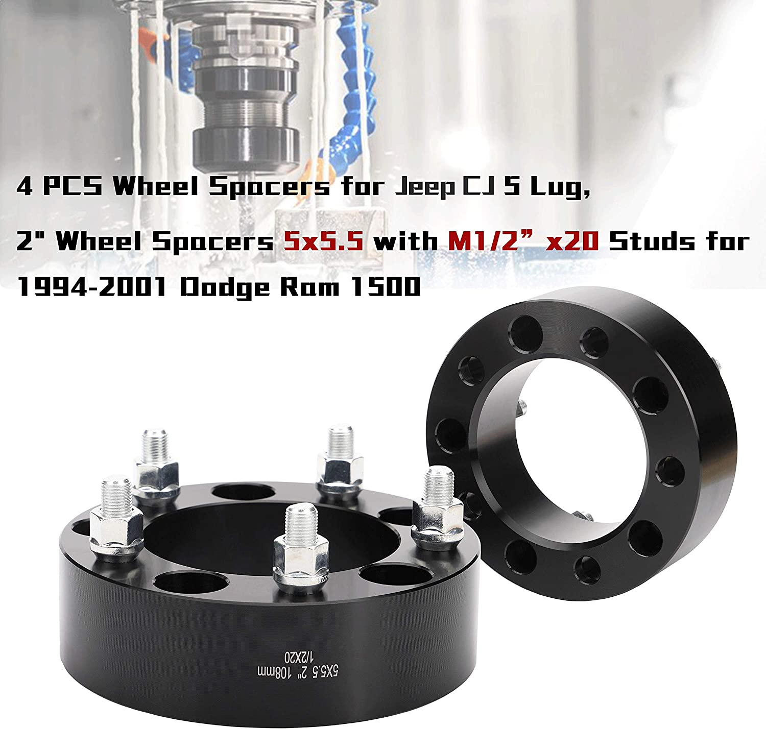 "139.7mm 4pcWheel Spacers Adapters Dodge Ram 1500 5 Lug 5x5.50 2/"" Thick"