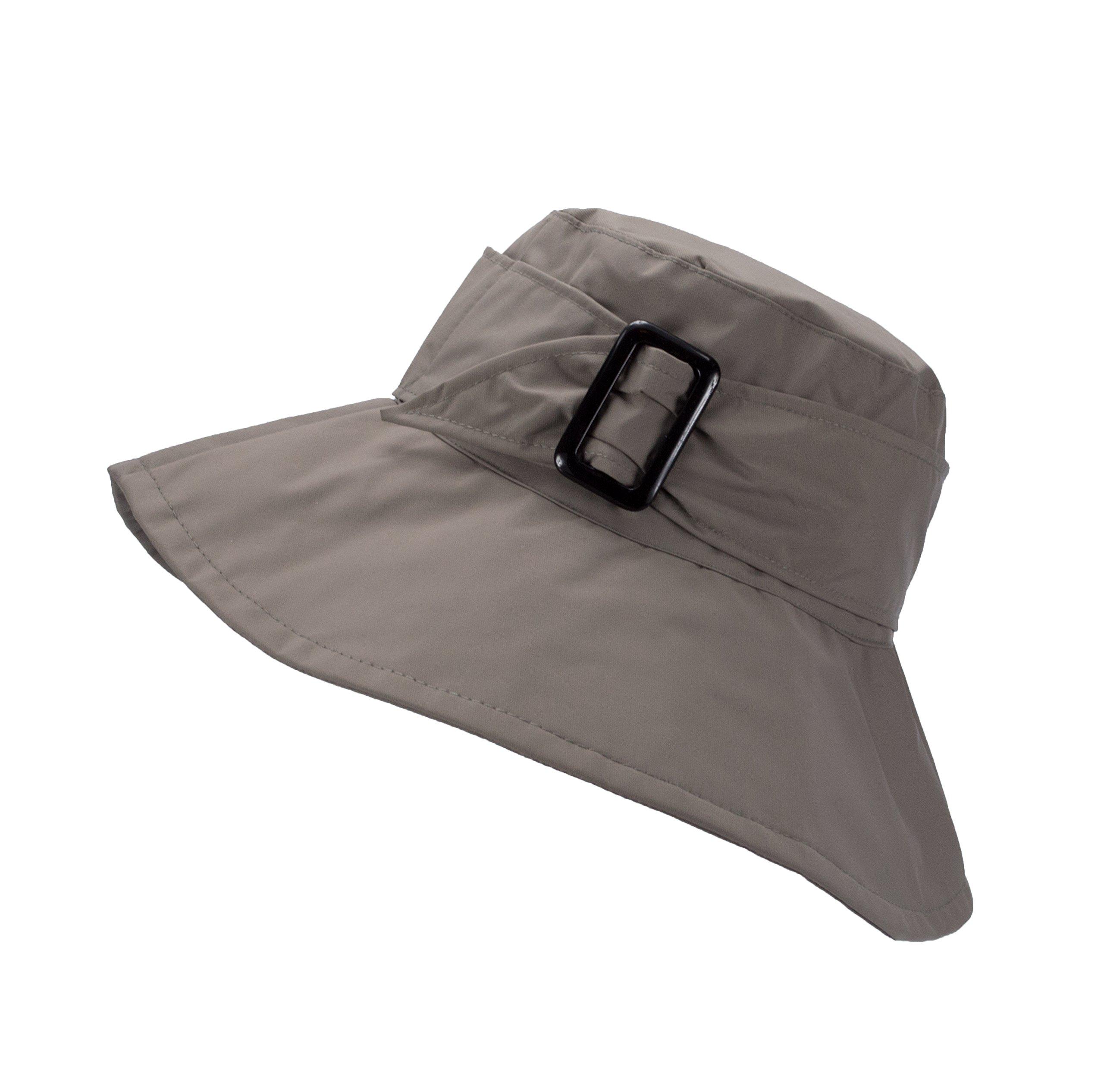 FLH Cute Bucket Rain Hat w/Buckle Accent, 3.5 inch Wide Brim, Roll-Up Packable (Grey)