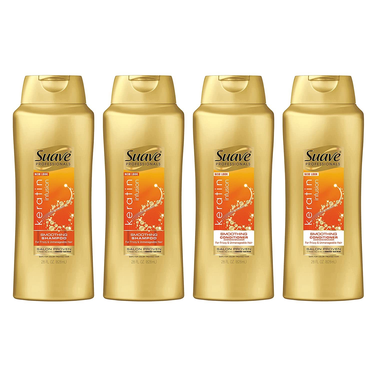 Suave Professionals Smoothing Shampoo and Conditioner Keratin Infusion 28 oz, 4 count