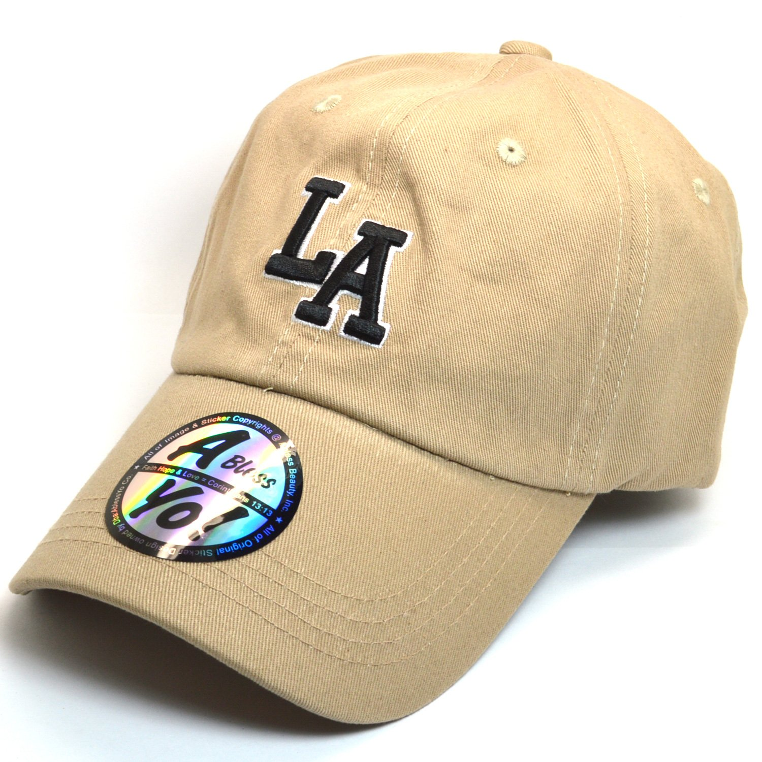 LA Embroidered Polo Style Cotton Dad Hat Durable Baseball Cap AYO1120  (Beige) at Amazon Women s Clothing store  5e93daf1939