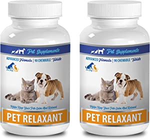cat Aggression Products - Natural Relaxant for Dogs and Cats - Calm and Relaxed - PET Anxiety Relief - tryptophan cat - 2 Bottle (180 Chews)