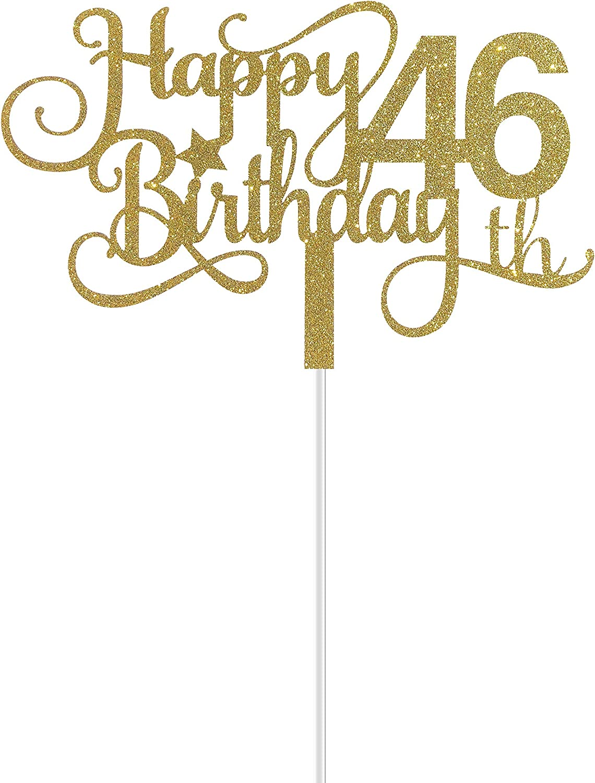 Happy 46th Birthday Cake Topper ALPHA K GG 46th Birthday Cake Topper 46th Birthday Party Decorations