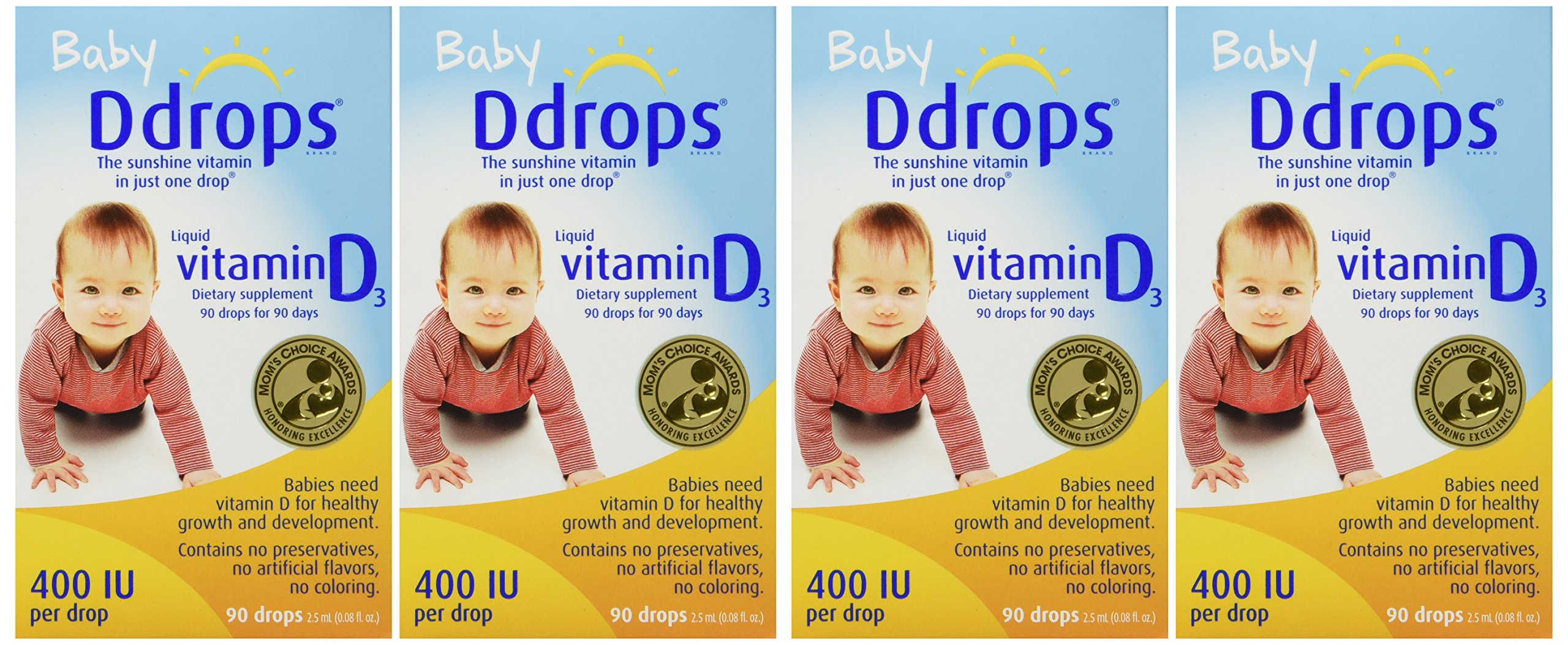 Ddrops Baby 400 Iu 90 Drops 0.08 Fluid Ounce (4 Pack)