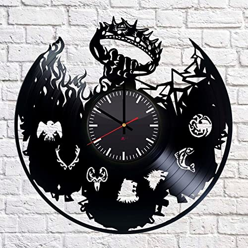 Game of Thrones Fantasy Handmade Vinyl Record Wall Clock – Get unique home room wall decor – Gift ideas for parents, teens Epic Movie Unique Modern Art