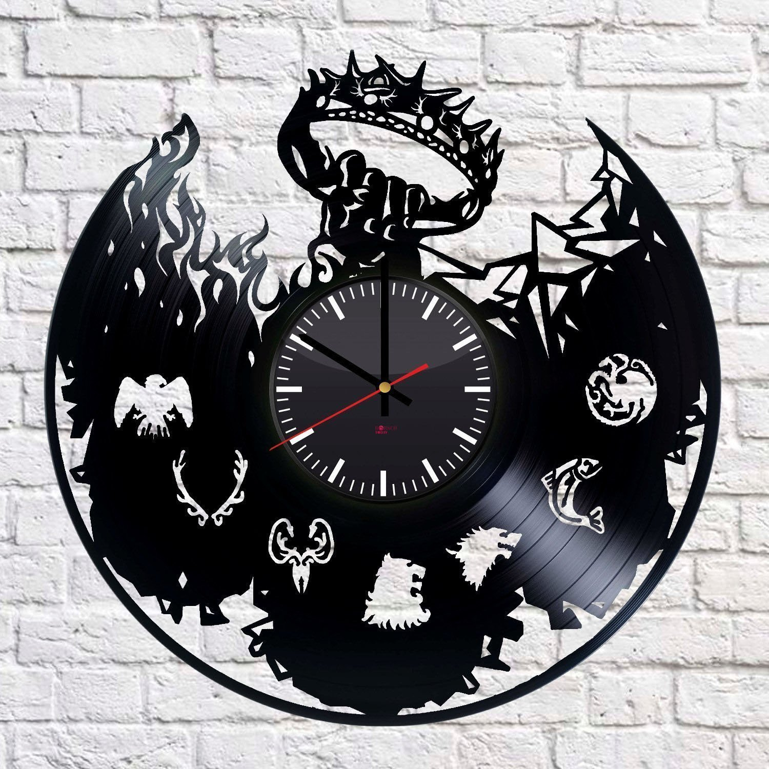 Game of Thrones Fantasy Handmade Vinyl Record Wall Clock - Get unique home room wall decor - Gift ideas for parents, teens – Epic Movie Unique Modern Art