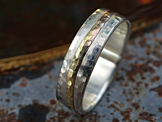 Amazon Com Forged Wave Ring Gold Silver Mens Wedding Band