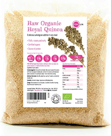 PINK SUN Quinoa Real Orgánica 2kg Blanca Semillas de Quinua Bio a Granel Sin Gluten Organic Bulk