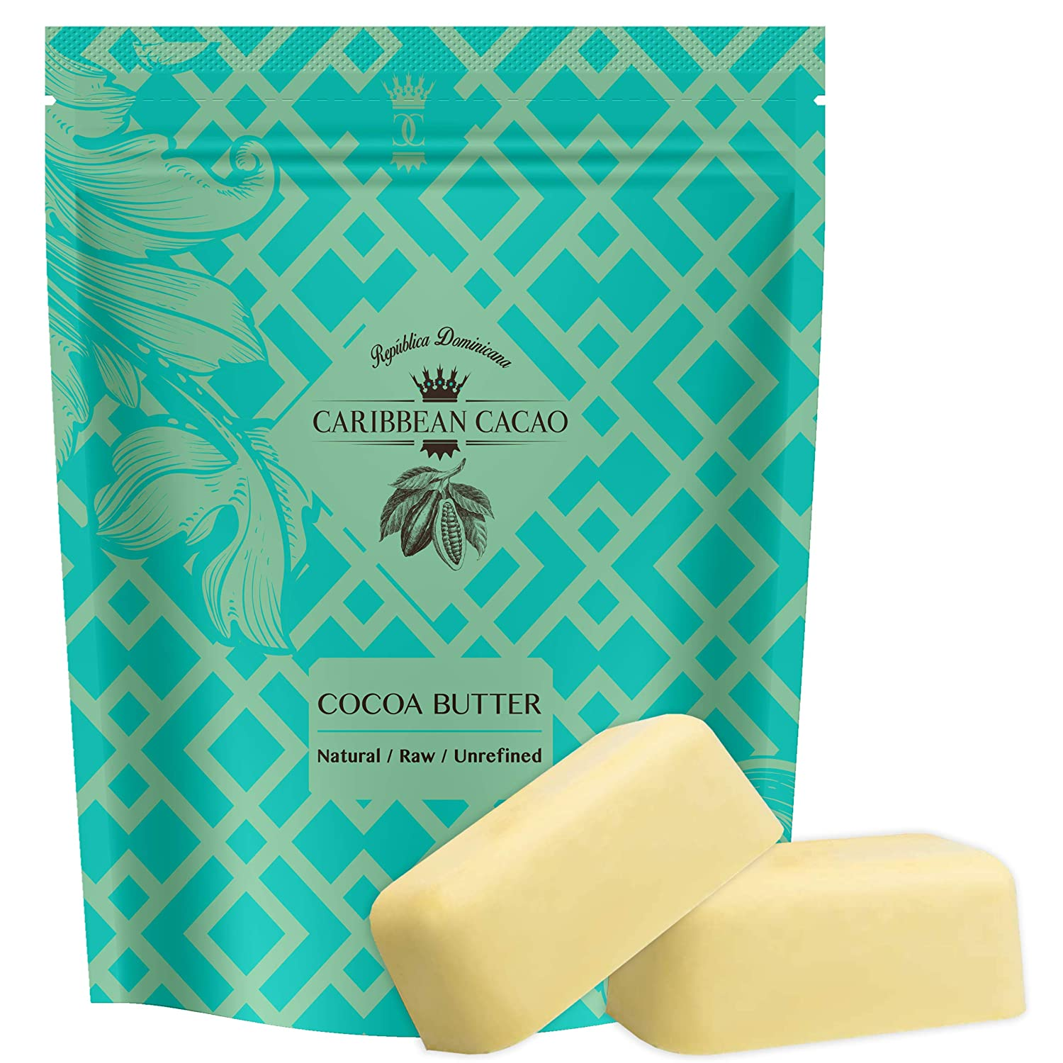 Cocoa Butter Raw Pure Unrefined - 2 LB Body Butter From Our Exclusive Source In The Dominican Republic, Incredible Quality & Scent, Cacao Butter For Beautiful, Radiant Skin, Stretch Marks, Etc