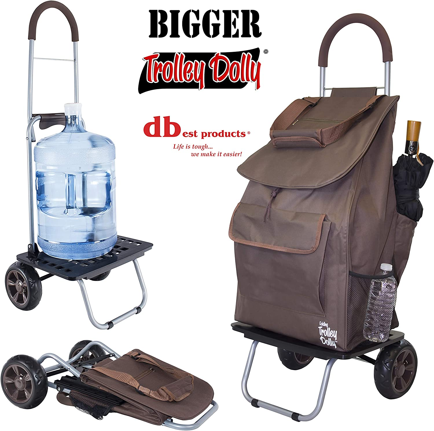dbest products Bigger Trolley Dolly, BrownShopping Grocery Foldable Cart