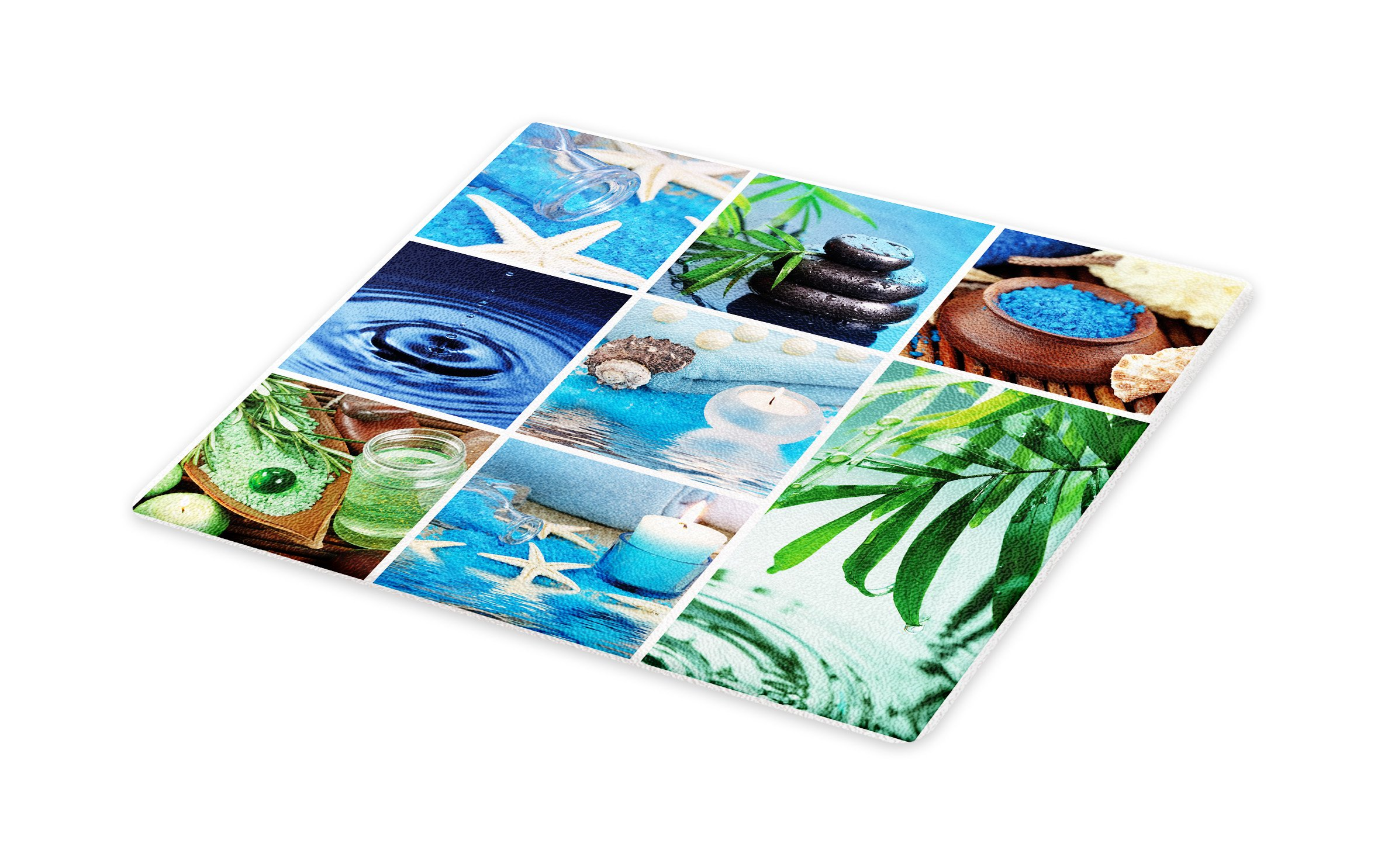 Lunarable Spa Cutting Board, Ocean Themed Collage with Starfish Stone Botanic Plants Aqua and Candles Image, Decorative Tempered Glass Cutting and Serving Board, Small Size, Blue and Green by Lunarable (Image #1)