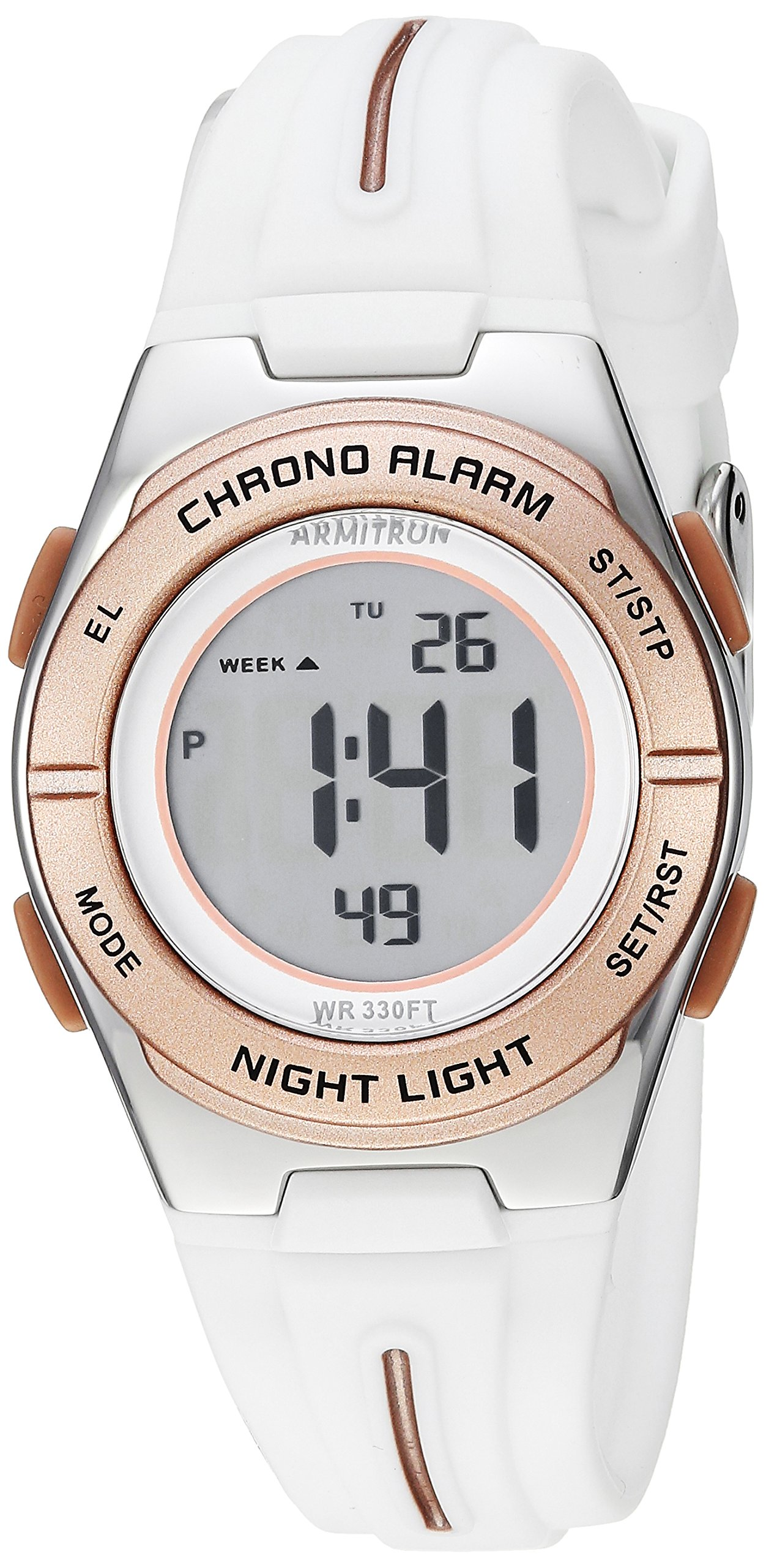 Armitron Sport Women's 45/7096WRG Rose Gold-Tone Accented Digital Chronograph White Silicone Strap Watch by Armitron Sport