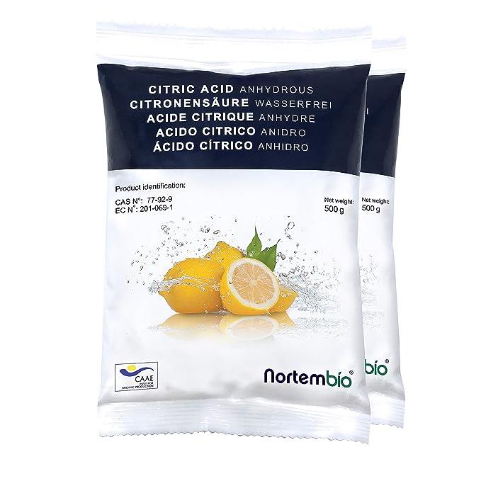 106 opinioni per Nortembio Acido Citrico 1 kg (2x500g). Polvere Anidro, 100% Puro. per Produzione