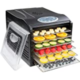 Ivation Stainless Steel Tray Electric Food Dehydrator Machine - 6 Trays - 480w - Digital Timer & Temperature Control with Aut