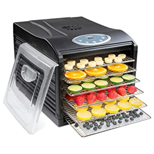 Ivation Stainless Steel Tray Electric Food Dehydrator Machine - 6 Trays - 480w - Digital Timer & Temperature Control with Auto Shutoff - 95F to 158F for Drying Beef Jerky, Fruits, Vegetables & Nuts, BPA Free