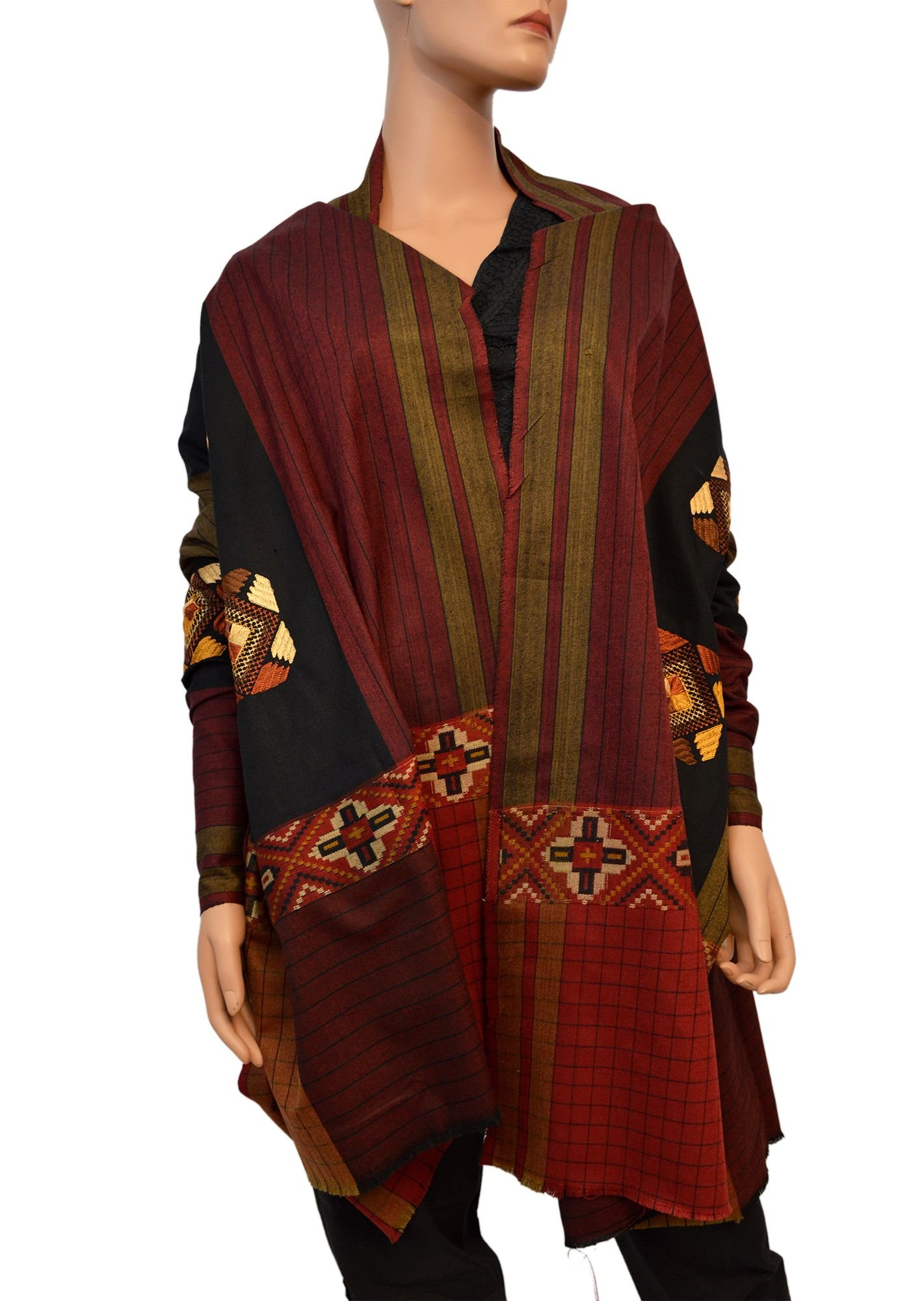 Wonder Clothing Fine Embroidered Pure Woolen Indian Shawl - Red Tone