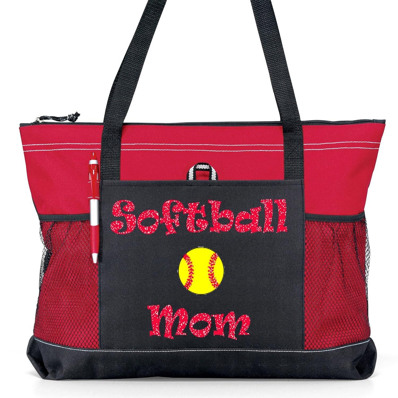 Softball Momスポーツトートバッグ – レッドGlitter Lettering on aレッド/ブラックトートバッグ B01N0C1O2M