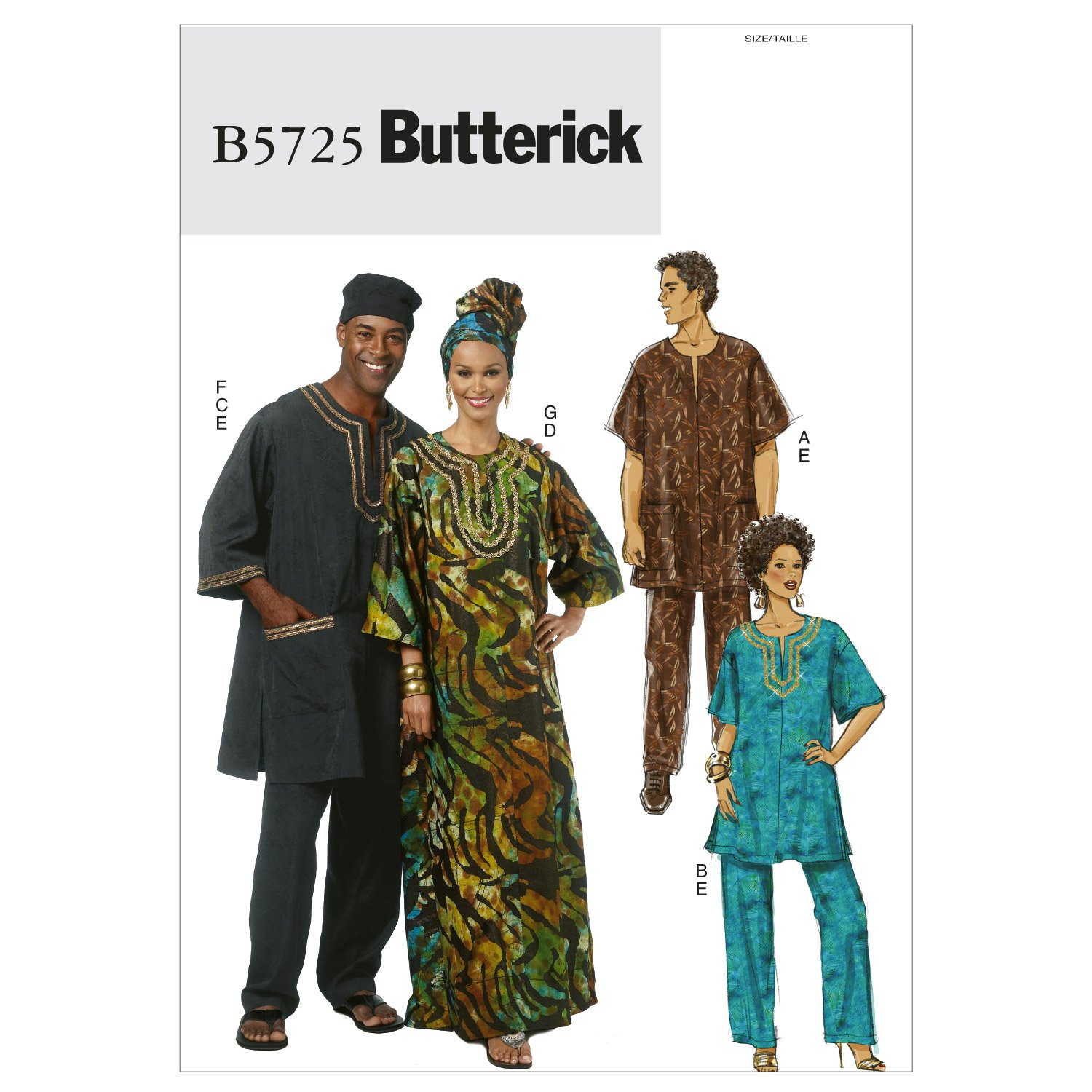 Butterick Patterns B5725 Size XM Small - Medium - Large Misses// Mens Tunic, Caftan, Pants, Hat and Head Wrap, Pack of 1, White The McCall Pattern Company B5725XM0