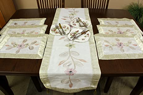 Hand Painted 7-Piece Placemat u0026 Table Runner Set (Beige) & Amazon.com: Hand Painted 7-Piece Placemat u0026 Table Runner Set (Beige ...