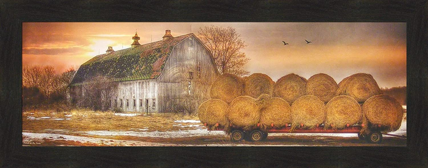 Home Cabin Décor Sunset On The Farm by Lori Deiter 16x40 Old Barn Hay Bales Wagon Evening Sun Framed Art Print Picture