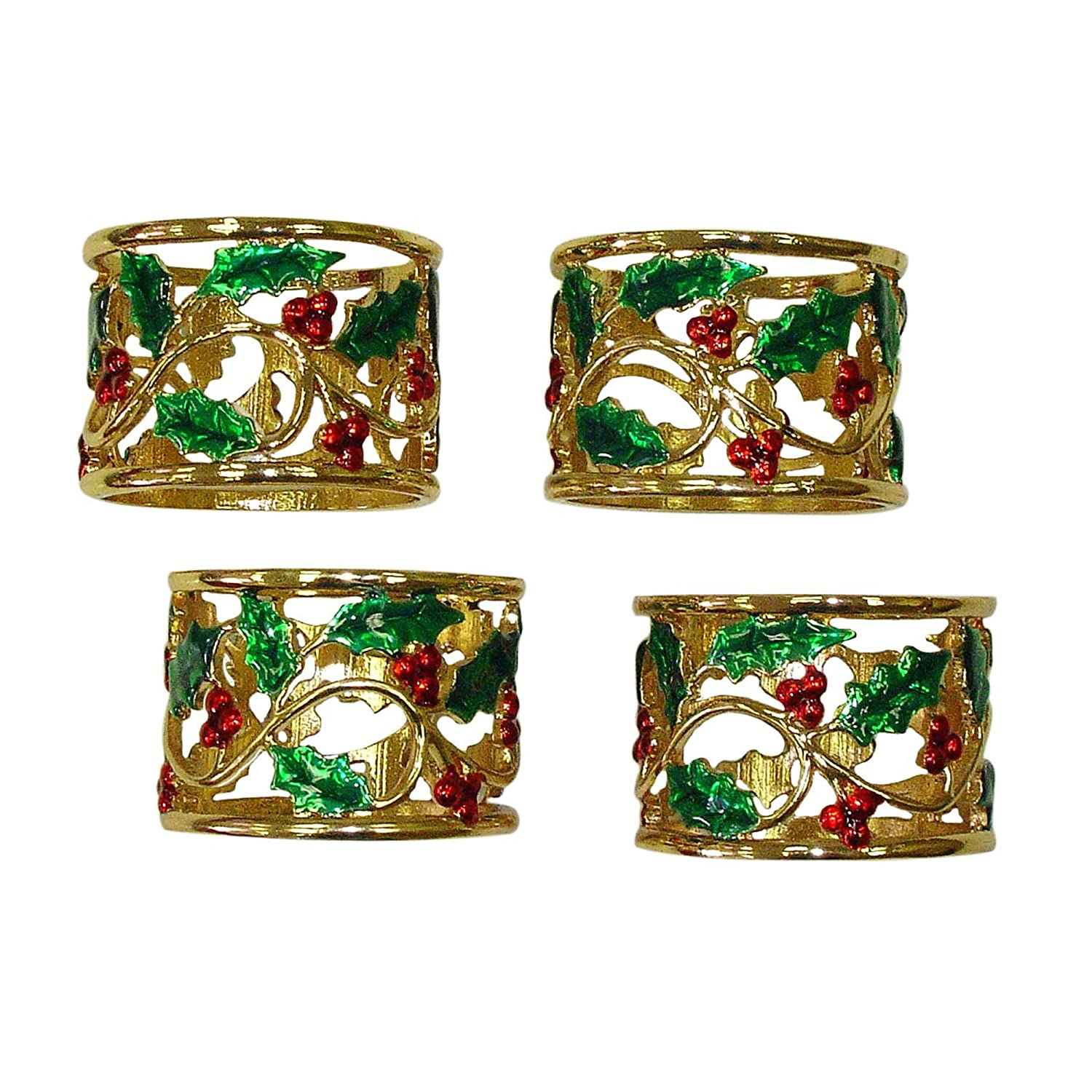 Lenox holiday napkin rings Holly and Berry, Set of 4 gold Christmas napkin rings