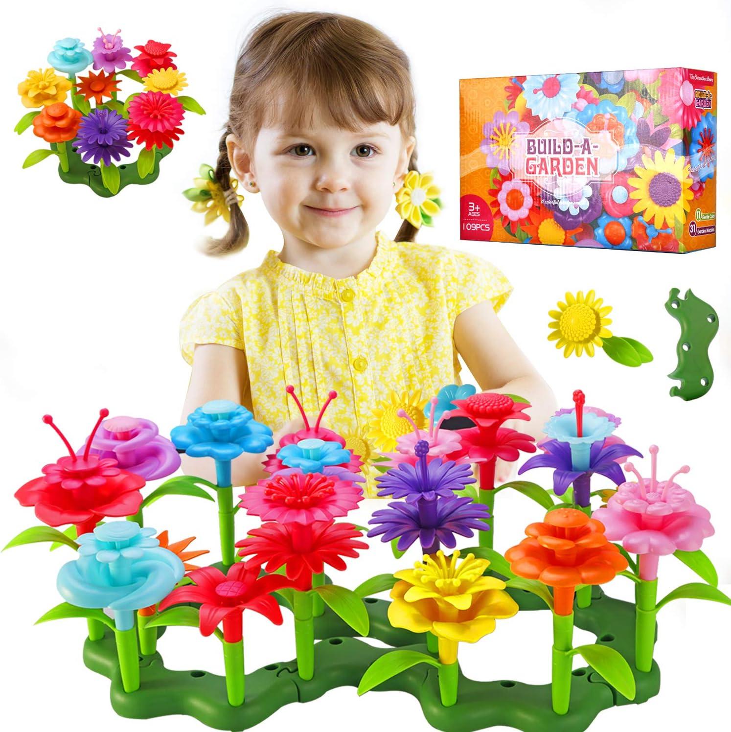 TURN RAISE Flower Garden Building Toys for Girls,109 Pcs Garden Bouquet Blocks,Creative Educational Stem Toys for for Preschool Children Age 3 4 5 6 7 Year Old (Style-1)