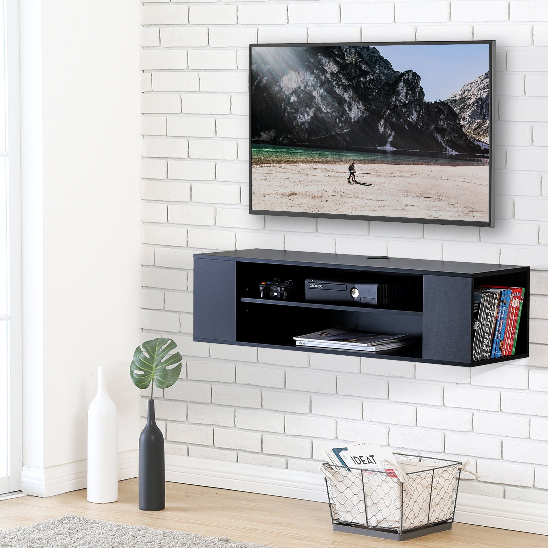 FITUEYES Wall Mounted Audio/Video Black wood grain for xbox one/PS4/vizio/Sumsung/sony TV DS210002WB