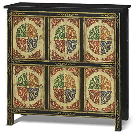 China Furniture Online Elmwood Tibetan Style Cabinet, Hand Painted Tibetan  Floral Motif High Chest Orange