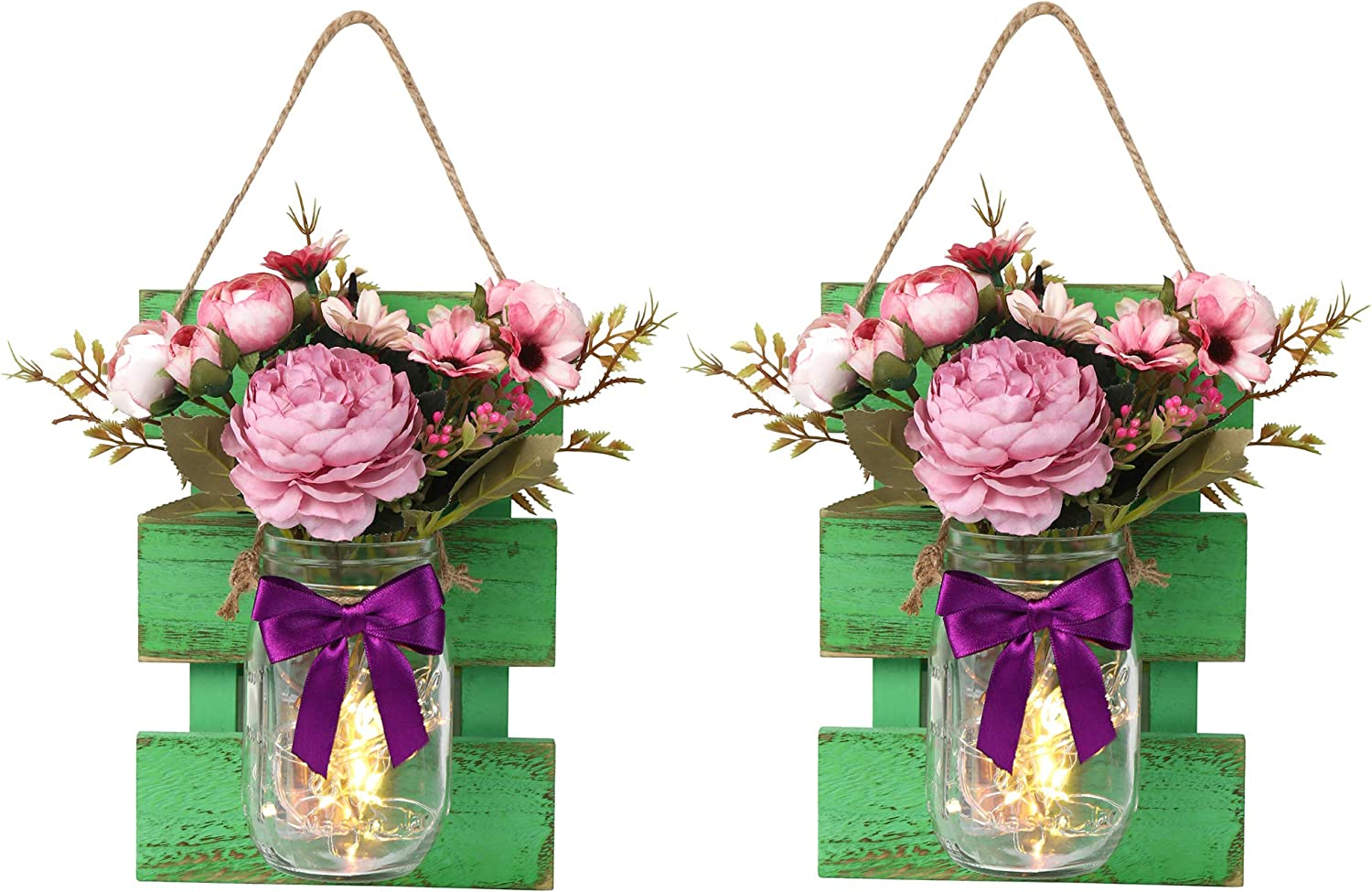 EmiLuces Collection Rustic Mason Jar 3D Wall Art Hanging Fairy LED Light Sconces with 6 Hour Timer, Pink Roses & Purple Camelia for Boho Farmhouse Kitchen Shabby Chic Decor (Set of 2)