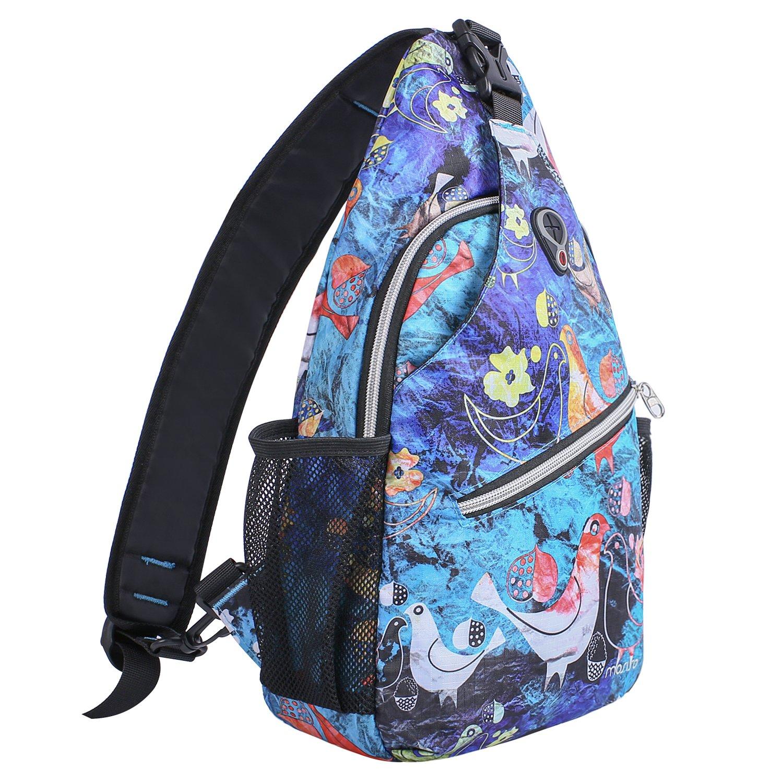 MOSISO Sling Backpack, Polyester Crossbody Shoulder Bag for Men Women Girls Boys, Bird