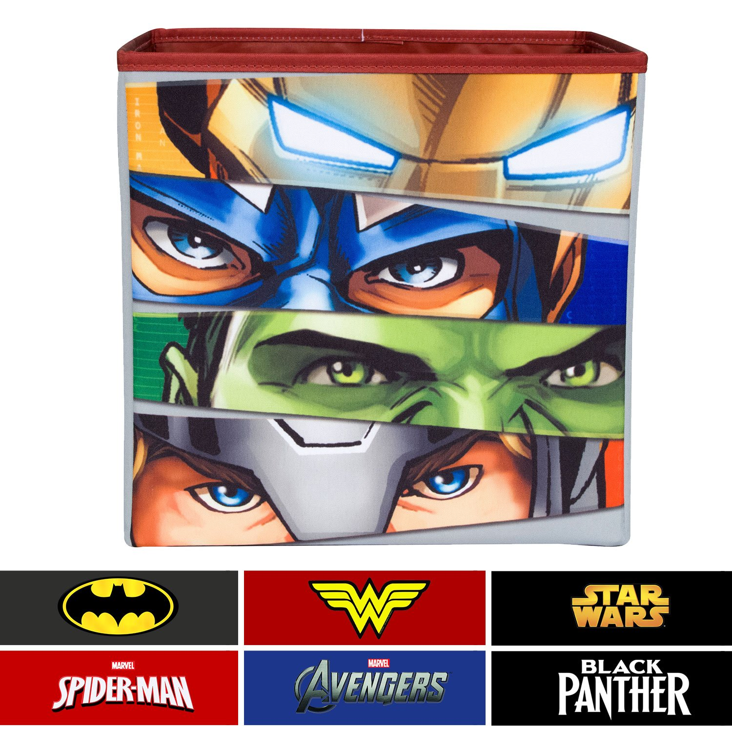 Everything Mary Avengers Collapsible Storage Bin by Marvel- Cube Organizer for Closet, Kids Bedroom Box, Playroom Chest - Foldable Home Decor Basket Container with Strong Handles and Design