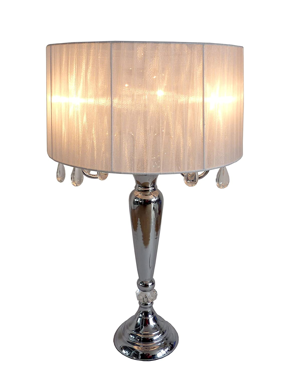 Elegant Designs LT1034 WHT Trendy Sheer Table Lamp With Hanging Crystals  And Sheer Shade, White     Amazon.com